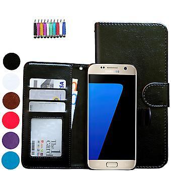 Läderfodral / Plånbok - Samsung Galaxy S7 Edge + Touchpenna
