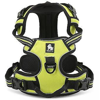 Green l no pull dog harness reflective adjustable with 2 snap buckles easy control handle mz1058