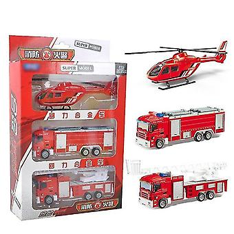 Toy cars children' alloy car three pack fire fighting ladder fire water tank truck helicopter red
