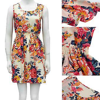European American Women Summer Dress Floral Printed Sleeveless Chiffon Dress