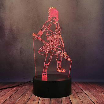 Kids Cadeau Anime Naruto Sasuke Night Light Touch Sensor Chambre 3d Illusion Night Light Ledanime Lampe Colorée Télécommande Night Light Home Gadgets
