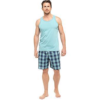 Wolf & Harte Mens katoen Vest & gedrukte Shorts pyjama's Set