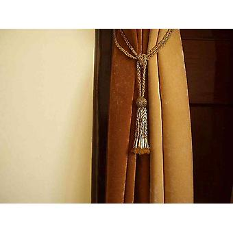 Pair - Golden Beaded Decorative handmade Tiebacks / Tassel / Curtain Holdback