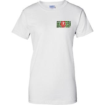 Bangladesh Grunge Country Name Flag Effect - Ladies Chest Design T-Shirt