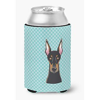Carolines Treasures  BB1183CC Checkerboard Blue Doberman Can or Bottle Hugger