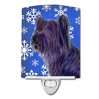 Skye Terrier Winter Snowflakes Holiday Ceramic Night Light