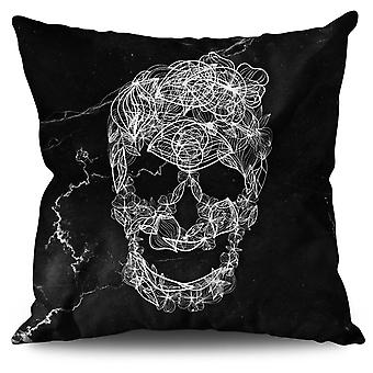 Art Skull Flower Linen Cushion 30cm x 30cm | Wellcoda