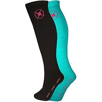 Manbi Adult Performance Thermal Sock - Twin Pack - Black/Turquoise