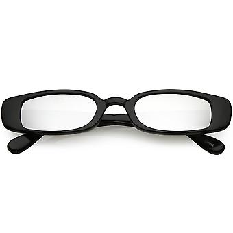 Extreme Thin Small Rectangle Sunglasses Mirrored Lens 49mm