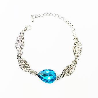 Teardrop Blatt Armband Silber Himmelblau