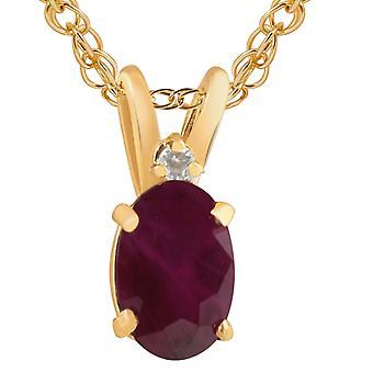 """Oval Ruby & diamant Solitaire anheng 14 KT gult gull med 18"""" kjede"""