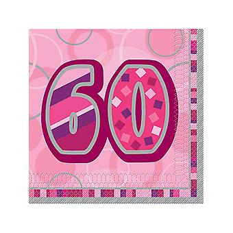 Födelsedag Glitz rosa - 60-årsdag - lunch servetter