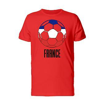 Cool Football Soccer Ball France Flag Men's Red T-shirt