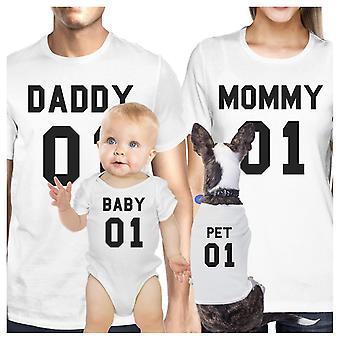 Familien White matchende skjorter far mor søn datter kæledyr familie hvid T-Shirt gave