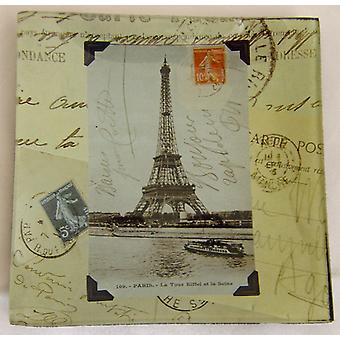 Rosanna European Souvenir Eiffel Tower Design Square Glass Tray