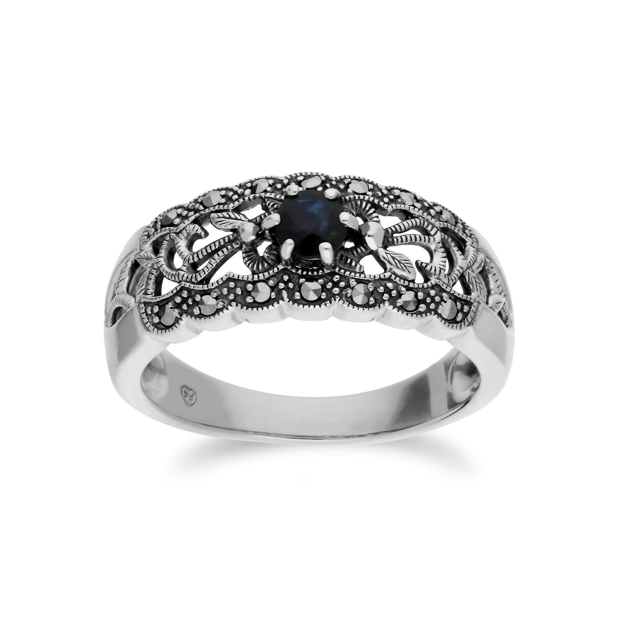 Gemondo Sterling Silver Sapphire & Marcasite Art Nouveau Ring