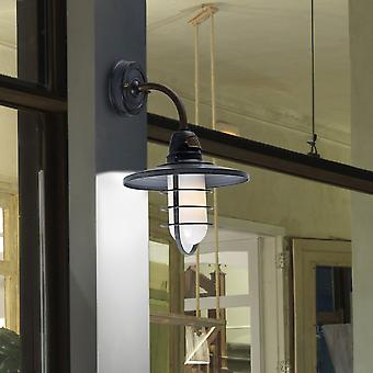 LEDs-c4 Cottage IP44 Wall Light In oude grijze en gesatineerd glas