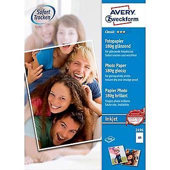 Avery-Zweckform Klassisk fotopapir Inkjet 2496 Fotopapir A4 180 g/m² 100 ark Blankt