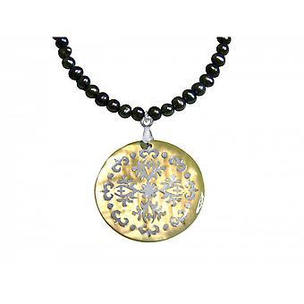 Pulseira pingente medalhão pérolas - pérola - 925 prata - cinzento-Tahiti - 3cm