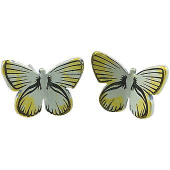 Ti2 Titanium Wald mittlerer Schmetterling Ohrstecker - gelb