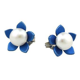 Ti2 Titanium stor blomst og perle Stud Øreringe - marineblå