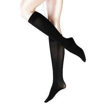 Falke Pure Matte 50 Denier Semi-Opaque Matte Knee High Tights - Black