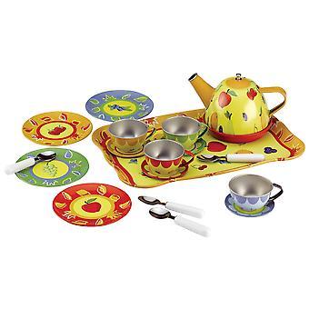 Tidlo Children's Metal Fruit Tea Set (19 Pieces) Roleplay Kitchen Accessories