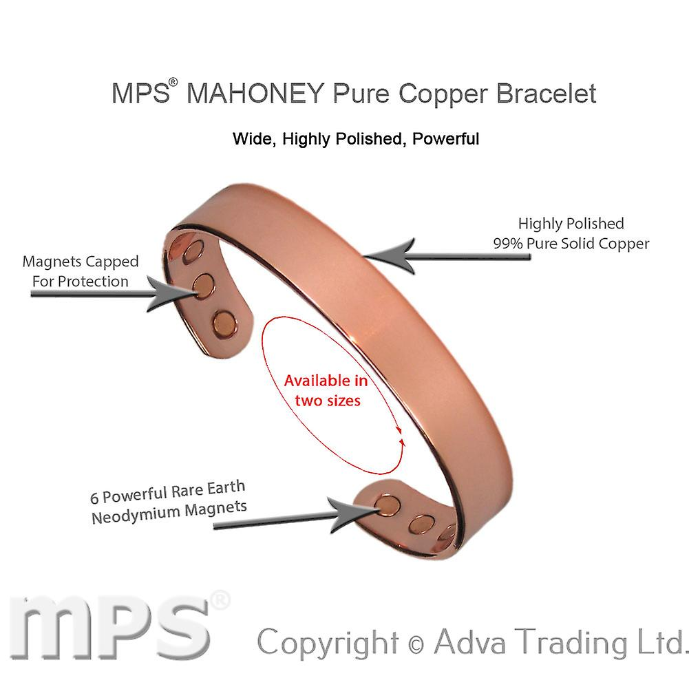 MPS® MAHONEY Polished Pure Copper Magnetic Bangle with 6 Magnets with Gift Pouch