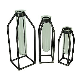 Modern Art Glass Tube Bud Vase with Metal Cage Frame Set of 3