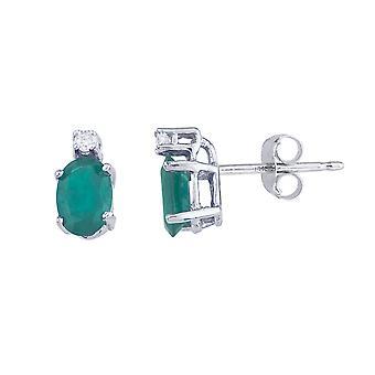 LXR 14k pendientes de esmeralda y diamantes de oro blanco 0.9ct