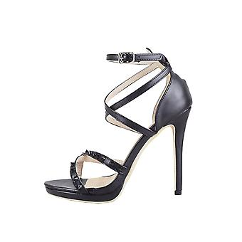 Lovemystyle Black Double Strap Studded Heeled Sandals