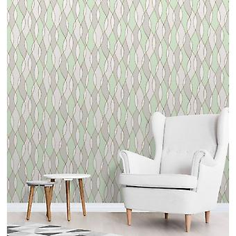Elegante Apex Wave zijwand Green Gold Wallpaper wandversiering 0.52 m x 10.05 m