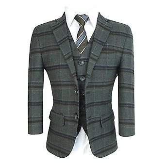 Boys Tailored Fit English Wool Effect Check Suit in Charcoal Grey