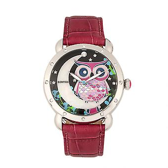 Bertha Ashley MOP Leather-Band Ladies Watch - Silver/Red