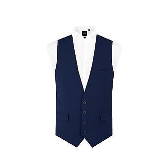 Dobell Mens donker blauw vest Slim Fit 4 knop