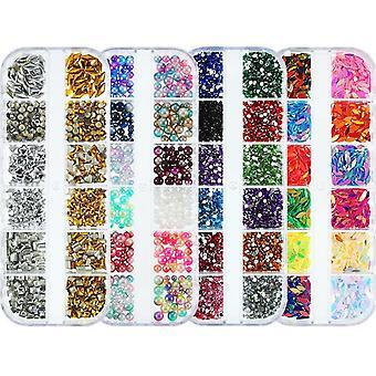 5 pudełek paznokci Charms paznokci sztuki cyrkonie ozdoba Kit