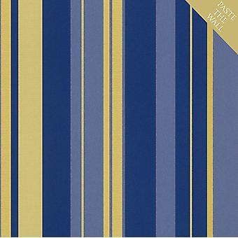 Rasch En Suite Gold Blue Stripes Wallpaper Striped Textured Paste The Wall