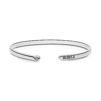 University Of Mississippi Engraved Sterling Silver Diamond Cuff Bracelet
