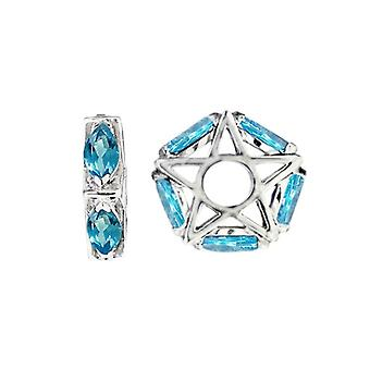 Storywheels Silver & amp; Swiss Blue Topaz Star Wheel Charm S046S