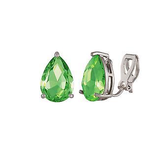 Eternal Collection Seduction Teardrop Peridot Green Crystal Silver Tone Stud Clip On Earrings