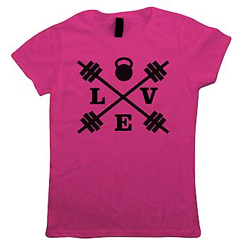 Love Crossed Barbell, Womens T Shirt - Gym Workout Weights Kettlebell Gift Her