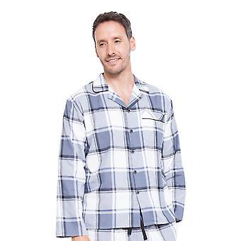 Cyberjammies 6320 Herren Aspen Grau karierte Pyjama Top
