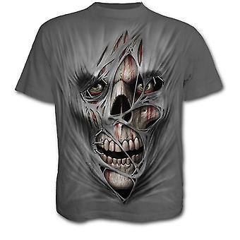 Spiraal-gestikt up-mannen korte mouw t-shirt-grijs