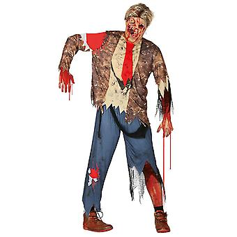 Adultes Hommes Zombie Guy Halloween Fancy Dress Costume