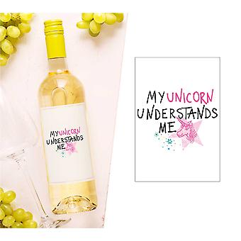 My Unicorn Understands Me Wine Bottle Label (en)
