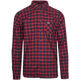 Lacoste regelmessig Fit langermet rød & Navy sjekk skjorte