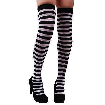 Kousen en been accessoires knielange panty gestreept zwart wit