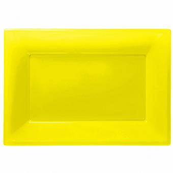 Amscan Plastic Rectangular Party Platters (Pack Of 3)