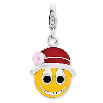 925 Sterling Silver Rhodium plated Fancy Lobster Closure Enameled Face With Flower Hat W Lobster Clasp Charm Pendant Nec
