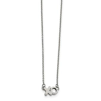 Stainless Steel Polished Xo Necklace 18 Inch Jewelry Gifts for Women